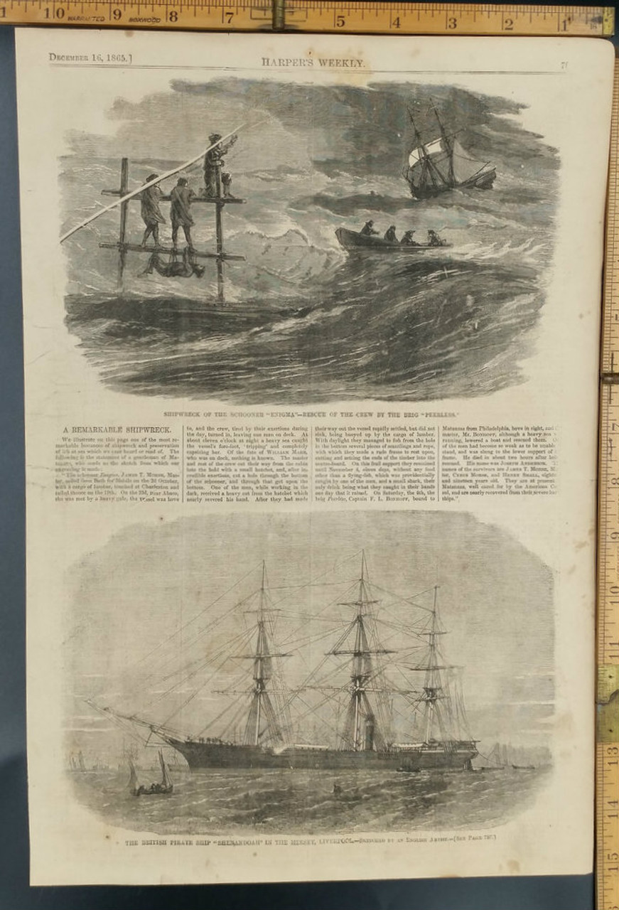 Shipwreck of the schooner Enigma and rescue of the crew by the Brig  Peerless  The British pirate ship Shenandoah In the Mersey, Liverpool   Original