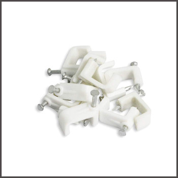 Dual RG6 Cable Mounting Clip White 100 per bag