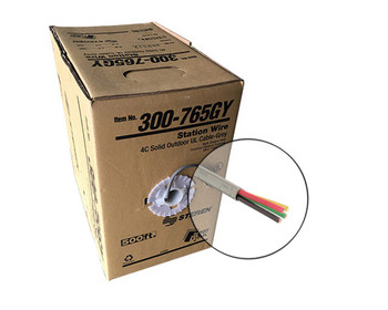500ft 22AWG 4C Station Wire Solid CMX cULus Pull Box Grey