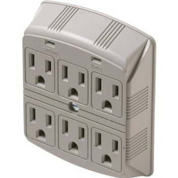 6 Outlet Wallmount Plug-In Surge Protector cULus 750 Joules