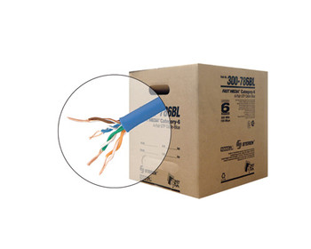 1000ft 23/4 CAT6 UTP cULus CMR Solid Cable - Reel-In-Box - Blue