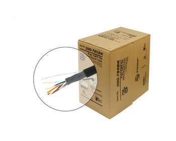 1000ft 24/4 CAT5E UTP Direct Burial Solid Cable - Pull-Box - Black