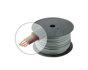 1000ft 28AWG 4C Telephone Modular Cable Flat Stranded Spool Silver