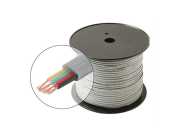 1000ft 26AWG 4C Telephone Modular Cable cULus Flat Stranded Spool Silver