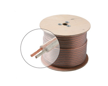 1000ft 20AWG Speaker Cable 2C Oxygen Free Spool Clear