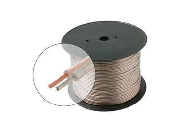 100ft 12AWG Speaker Cable 2C Oxygen Free Spool Clear