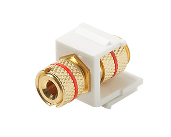 Keystone Snap-in Binding Post Banana Jack Gold with Red Band White