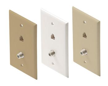 Telephone 4C + 1-F81 Wall Plate UL White