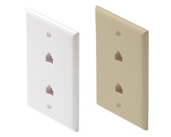 Telephone 6C Dual Jack Wall Plate White