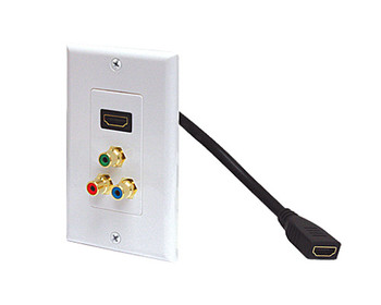 Standard HDMI Pigtail + 3-RCA Jack (R/G/B) Wall Plate White