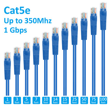 5ft Cat5e Patch Cord Snagless UTP cULus Molded Blue