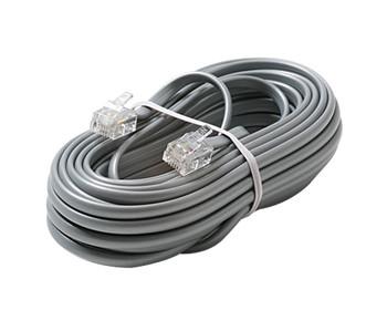 15ft 6C Modular Flat Telephone Line Cord Silver