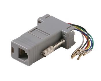 DE9 Female to 8x8 Modular Adapter Plastic Shell Gray
