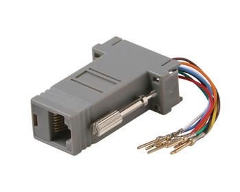 DE9 Male to 8x8 Modular Adapter Plastic Shell Gray