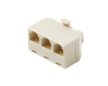 Modular 4C Telephone Triplex Adapter Ivory