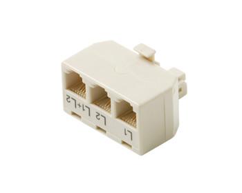 Modular 4C 2-Line Telephone Triplex Adapter Ivory