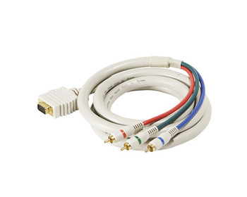6ft VGA-3RCA RGB Component Video Cable with Gold Connectors Ivory
