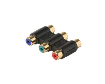 3-RCA Jack to 3-RCA Jack RGB Adapter Gold Contacts Black