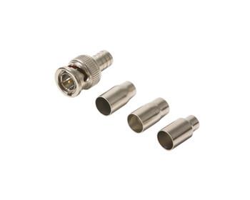 BNC Crimp Male 75 Ohm 2pc Connector Kit (RG58/RG59P RG59/RG6P RG6/RG8X) 10 Per Bag