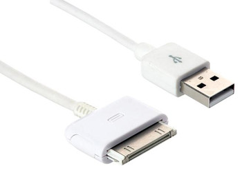 Steren 1-ft. 30-Pin Charge and Sync USB Cable - White