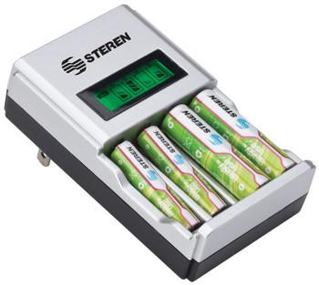 Smart Battery Charger NiCD/NiMH R2U for AA/AAA. Includes 4 AA R2U Batteries
