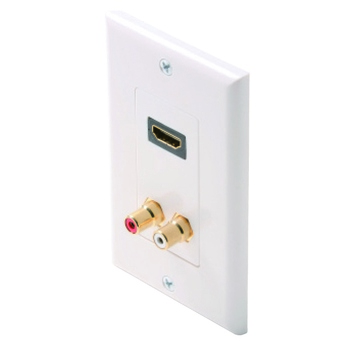 Steren HDMI + 2-RCA Jack (R/W Insulator) Wall Plate White