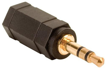 """Steren 2.5mm Jack to 1/8"""" (3.5mm) Stereo Plug Adapter - Gold"""