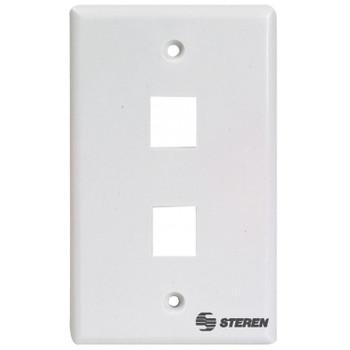 Steren 2-Port Keystone Wall Plate- White