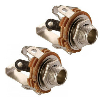 Steren 1/4in 3-Terminal Stereo Jack Open Panel Mount - 2 Pack