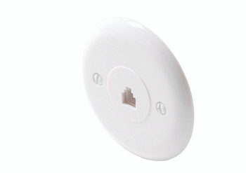 Steren Round Telephone Wall Jack 6-Conductor White