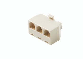 Steren Triplex In-Wall Adapter 6-Conductor 3-Way Telephone cord Splitter