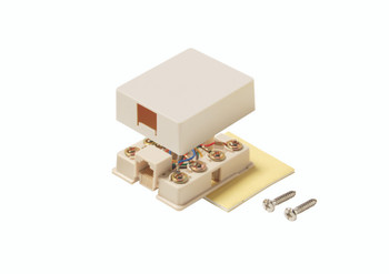 Steren RJ45 Surface Mount Jack 4 Conductor - Telephone Ivory