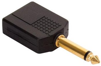 """Steren 2 x 1/4"""" (6.3mm) Jacks to 1/4"""" (6.3mm) Mono Plug Adapter - Gold"""