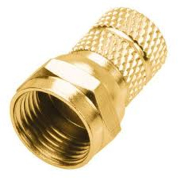 """Steren RG6 Twist-On """"F"""" Connectors 2-Pack Gold"""