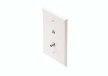 Steren Mid-Sized 4C Tel + TV Wall Plate Ivory