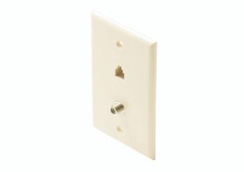 Steren Standard 4C Tel + TV Wall Plate Light Almond