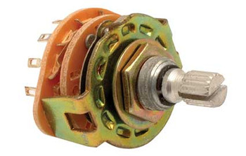 Steren 125 VAC 350 mA 2 poles / 5 throws 0.51 in (1.3 cm) grooved shaft rotary switch