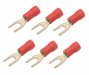 Steren 0.17 in 22 - 18 AWG spade terminal with red cover - 6 Pack