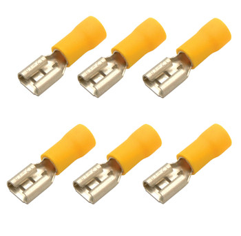 Steren 0.24 in 10 - 12 AWG female fast-on brass terminal with yellow cover - 6 Pack