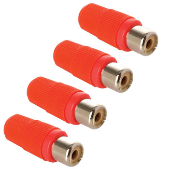 Steren RCA Jack Red Plastic Handle - 4 Pack