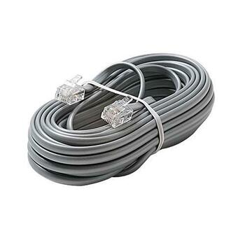 Steren Steren 15ft 4 Wire 4C Modular Flat Telephone Line Cord Silver