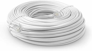 Steren Steren 100ft 4C RJ11 Modular Flat Telephone Line Cord White