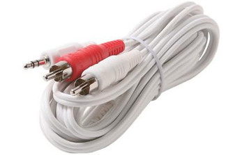 6in 3.5mm Stereo Plug to 2-RCA Plug Y Audio Patch Cord White