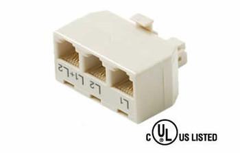 4C 2-Line T-Junction 3-Jacks/1 White