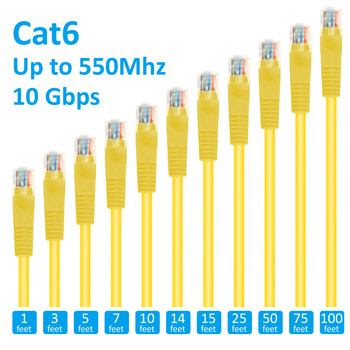 20ft Cat6 Patch Cord Non-Booted UTP cULus Yellow