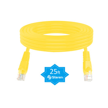 25ft Cat6 Patch Cord Non-Booted UTP cULus Yellow