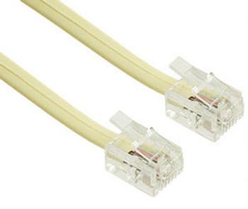 15ft 6C Modular Flat Telephone Line Cord Ivory