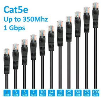 9ft Cat5e Patch Cord Non-Booted UTP cULus Black