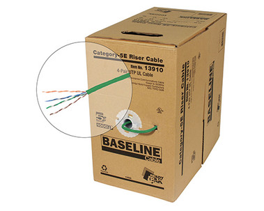 BASELINE - 1000ft 24/4 CAT5E UTP cULus CMR Solid Cable - Pull-Box - Green