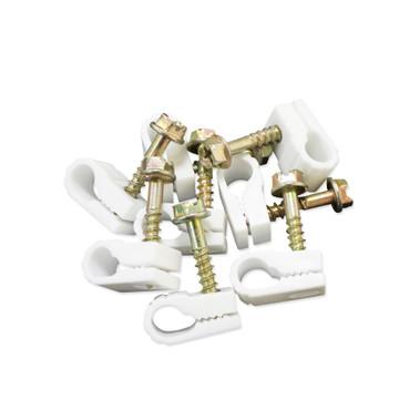 Single Coax Steren Grip-Clip White 50 per bag